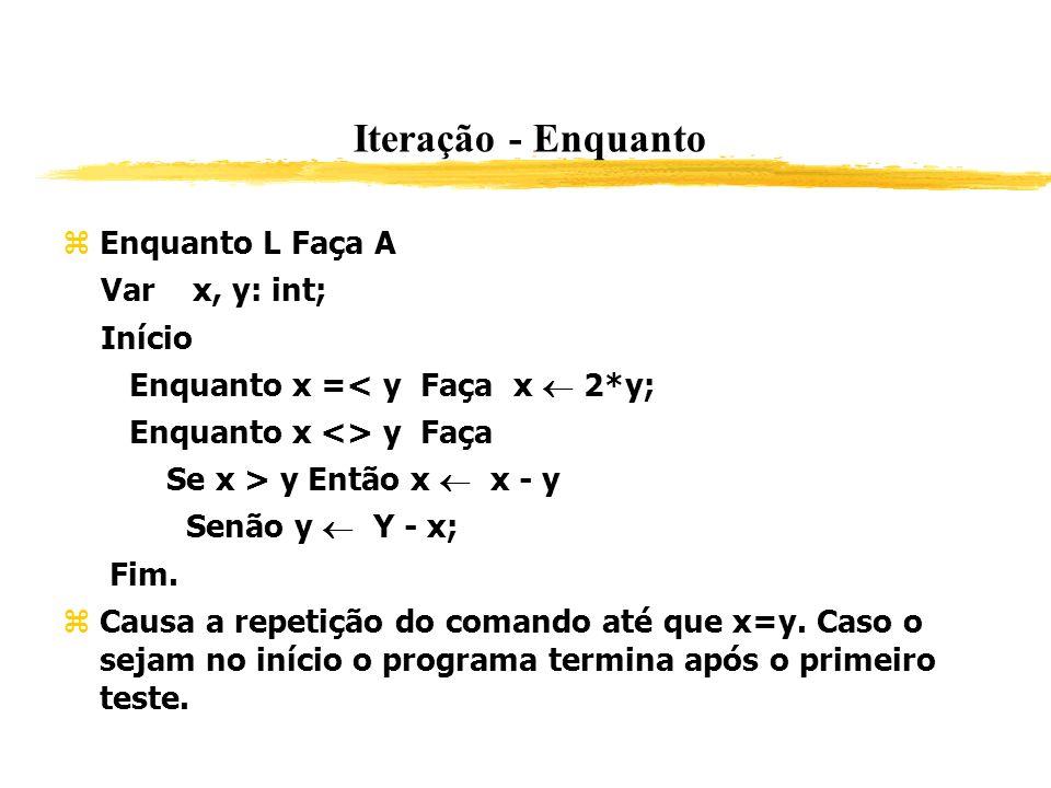 Iteração - Enquanto Enquanto L Faça A Var x, y: int; Início