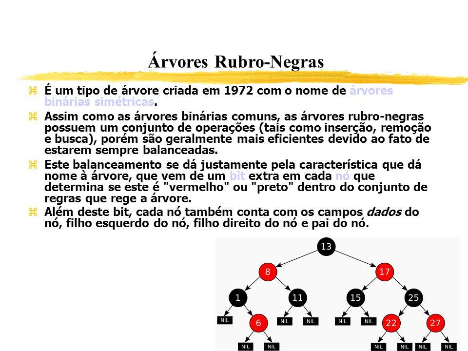 Árvores Rubro-Negras É um tipo de árvore criada em 1972 com o nome de árvores binárias simétricas.