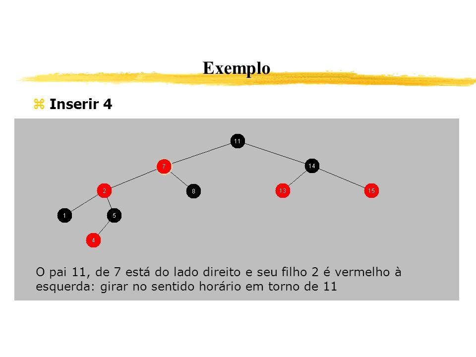 Exemplo Inserir 4. O pai 11, de 7 está do lado direito e seu filho 2 é vermelho à esquerda: girar no sentido horário em torno de 11.
