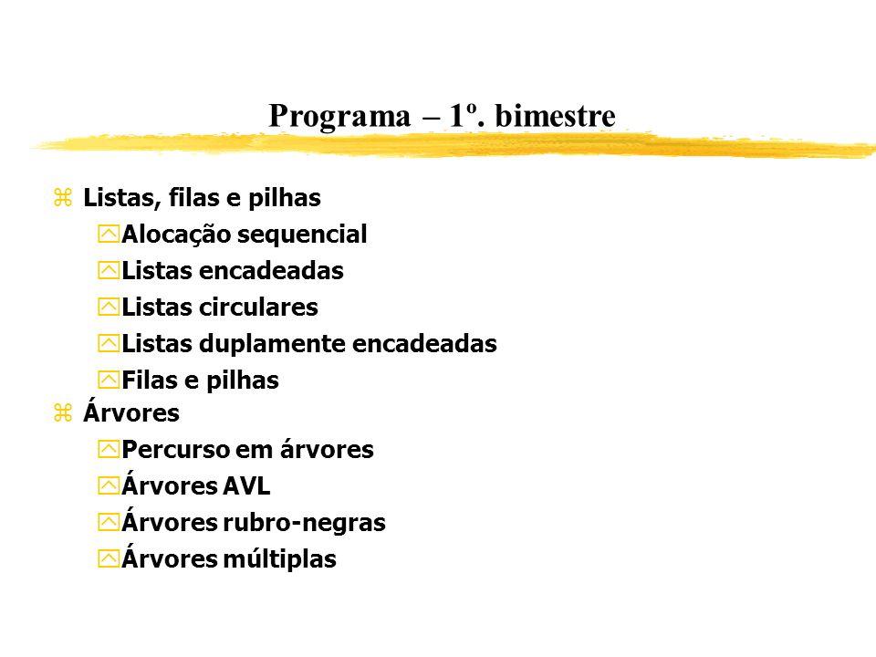 Programa – 1º. bimestre Listas, filas e pilhas Alocação sequencial
