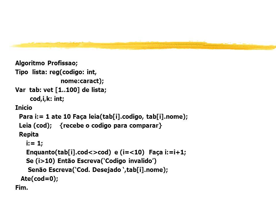 Tipo lista: reg(codigo: int, nome:caract);