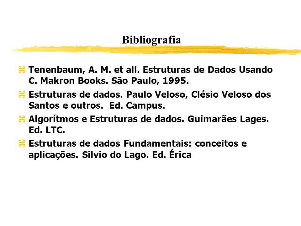 Bibliografia Tenenbaum, A. M. et all. Estruturas de Dados Usando C. Makron Books. São Paulo, 1995.