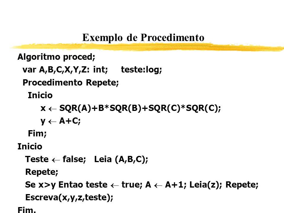Exemplo de Procedimento