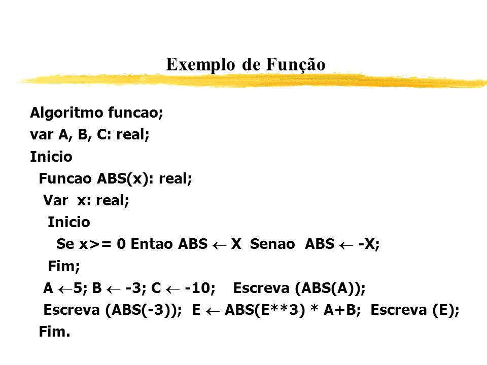 Exemplo de Função Algoritmo funcao; var A, B, C: real; Inicio