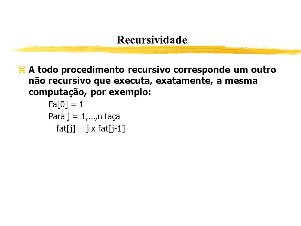 Recursividade A todo procedimento recursivo corresponde um outro não recursivo que executa, exatamente, a mesma computação, por exemplo: