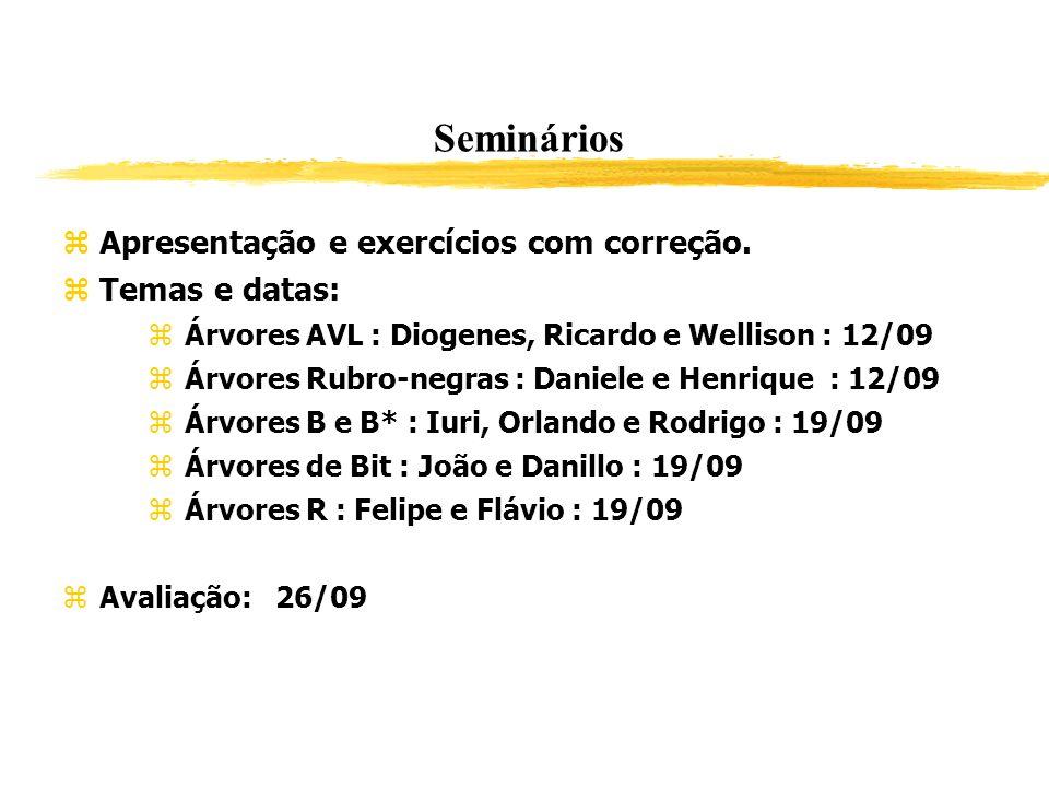 Seminários Apresentação e exercícios com correção. Temas e datas: