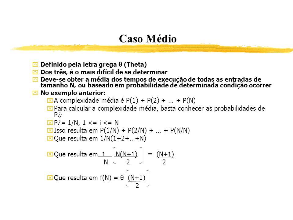 Caso Médio A complexidade média é P(1) + P(2) + ... + P(N)