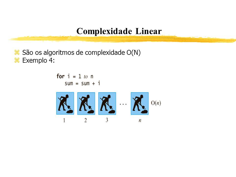 Complexidade Linear São os algoritmos de complexidade O(N) Exemplo 4: