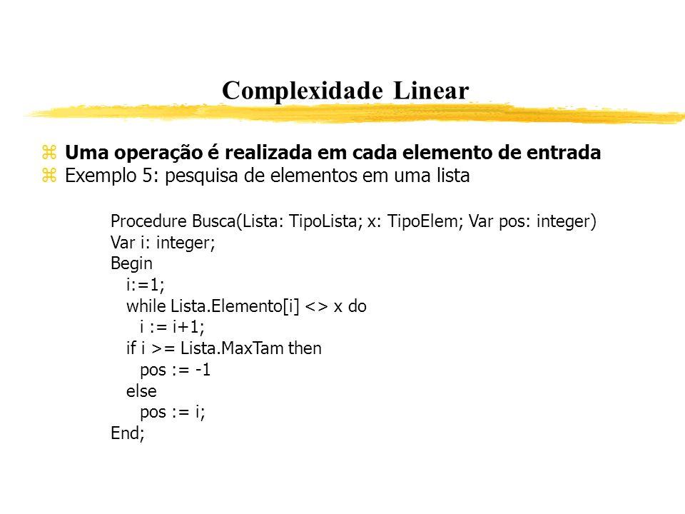 Complexidade Linear Uma operação é realizada em cada elemento de entrada. Exemplo 5: pesquisa de elementos em uma lista.