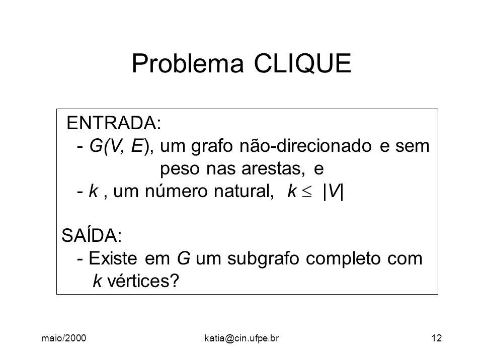 Problema CLIQUE ENTRADA: - G(V, E), um grafo não-direcionado e sem