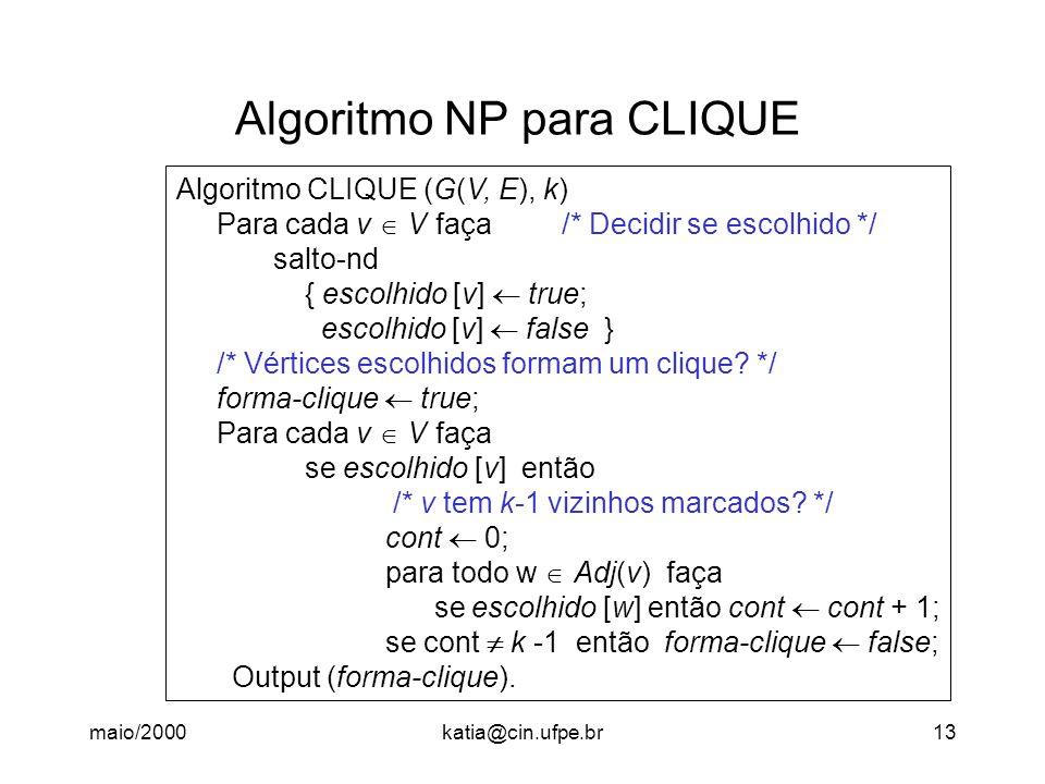 Algoritmo NP para CLIQUE