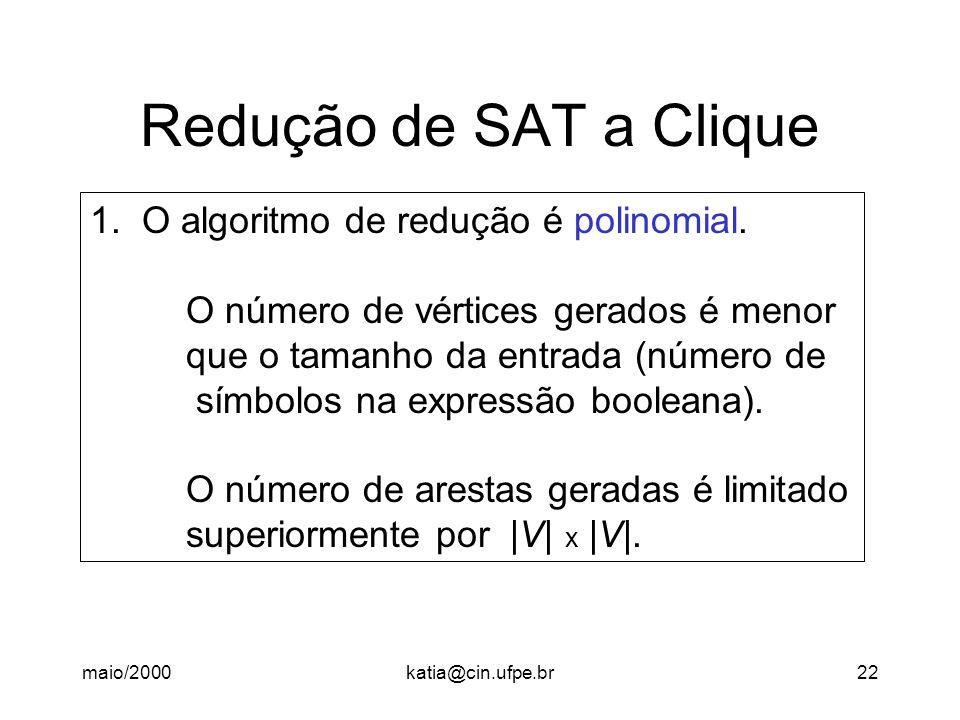 Redução de SAT a Clique 1. O algoritmo de redução é polinomial.