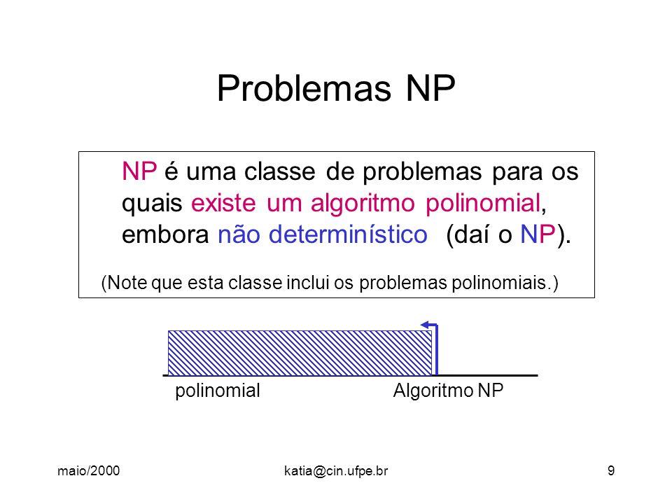 Problemas NP NP é uma classe de problemas para os
