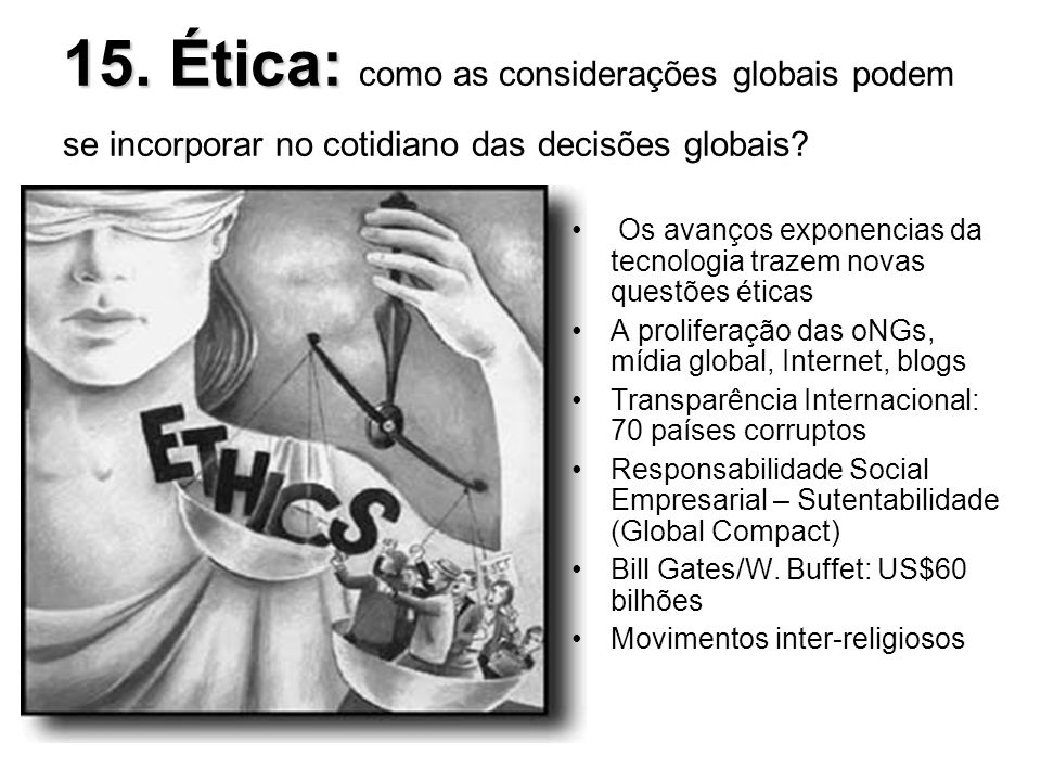 15. Ética: como as considerações globais podem se incorporar no cotidiano das decisões globais