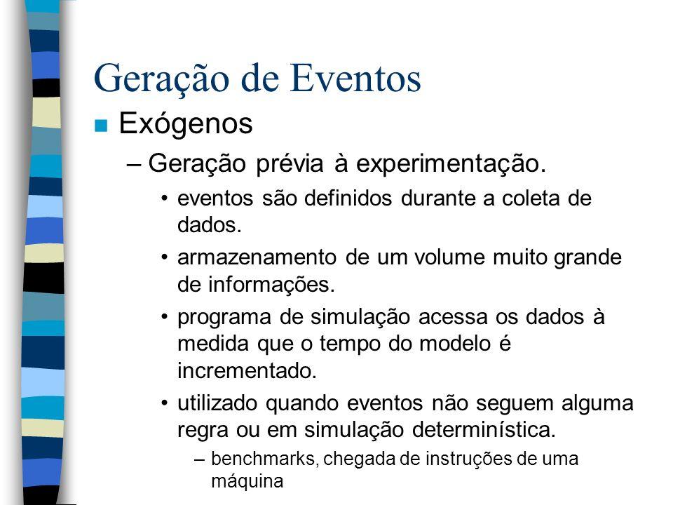 Geração de Eventos Exógenos Geração prévia à experimentação.