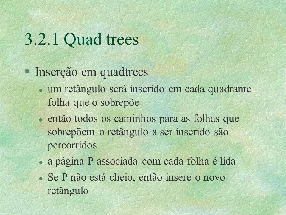 3.2.1 Quad trees Inserção em quadtrees