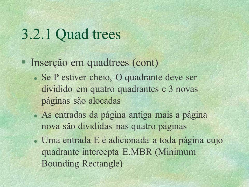 3.2.1 Quad trees Inserção em quadtrees (cont)