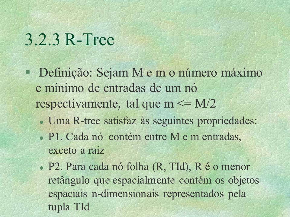 3.2.3 R-Tree Definição: Sejam M e m o número máximo e mínimo de entradas de um nó respectivamente, tal que m <= M/2.