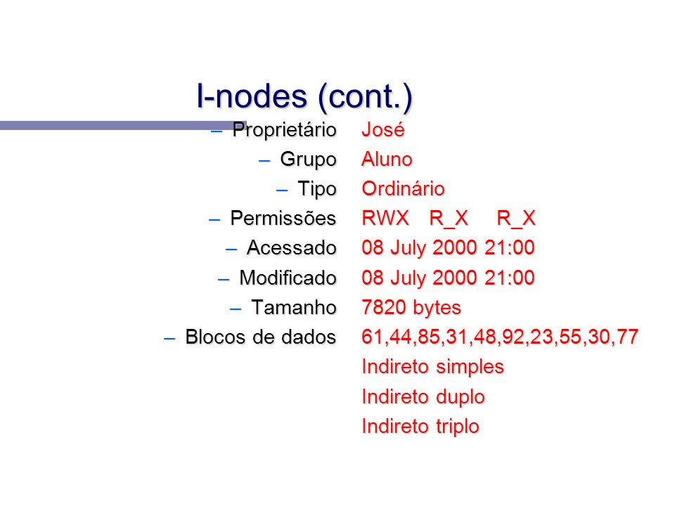 I-nodes (cont.) Proprietário Grupo Tipo Permissões Acessado Modificado