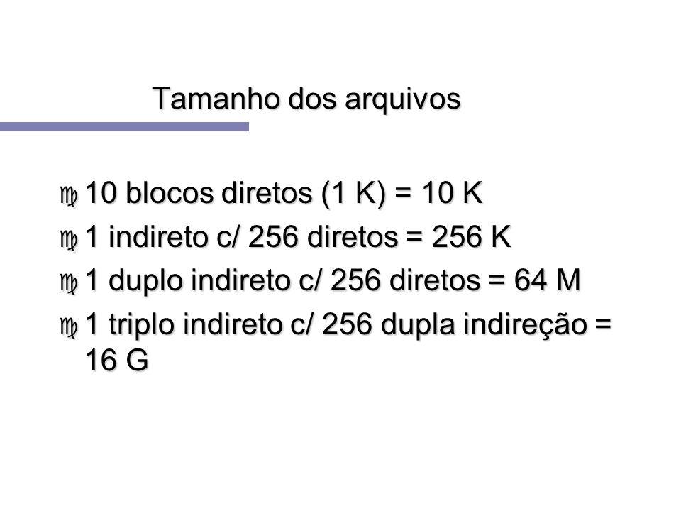 Tamanho dos arquivos10 blocos diretos (1 K) = 10 K. 1 indireto c/ 256 diretos = 256 K. 1 duplo indireto c/ 256 diretos = 64 M.