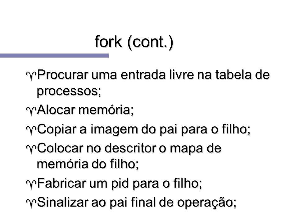fork (cont.) Procurar uma entrada livre na tabela de processos;