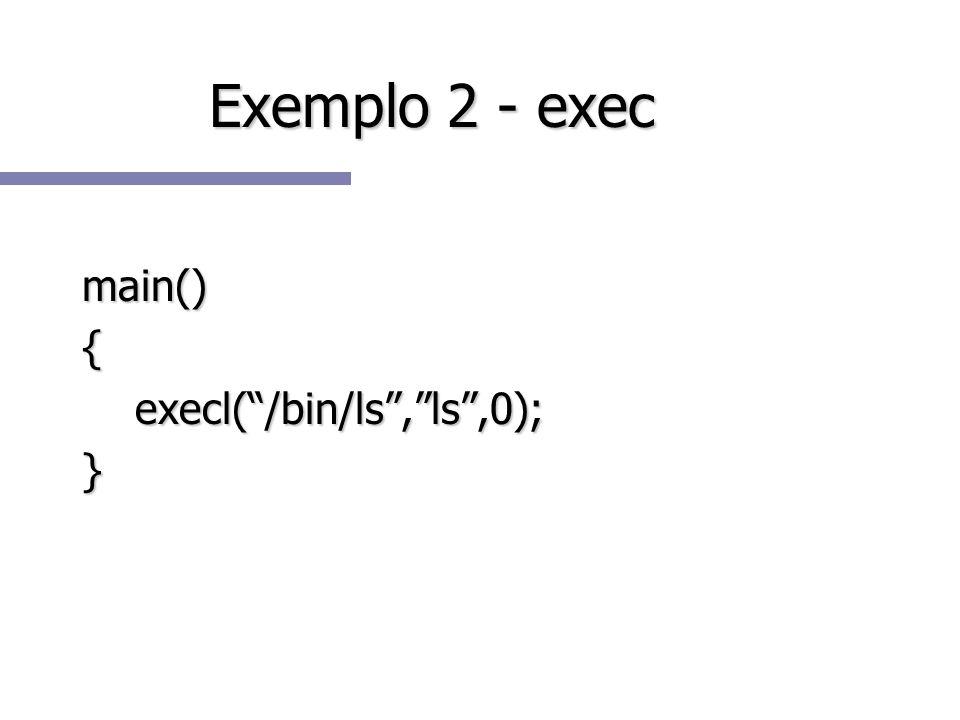 Exemplo 2 - exec main() { execl( /bin/ls , ls ,0); }
