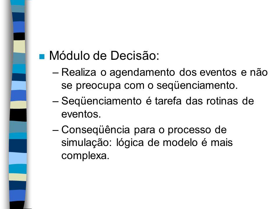 Módulo de Decisão: Realiza o agendamento dos eventos e não se preocupa com o seqüenciamento. Seqüenciamento é tarefa das rotinas de eventos.