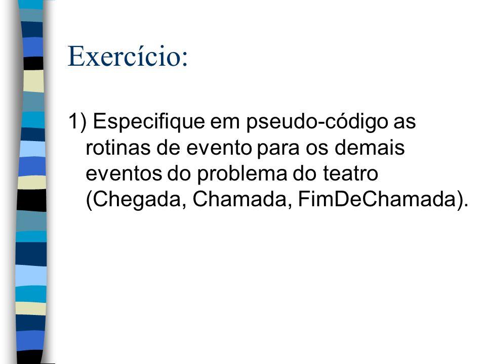Exercício: 1) Especifique em pseudo-código as rotinas de evento para os demais eventos do problema do teatro (Chegada, Chamada, FimDeChamada).