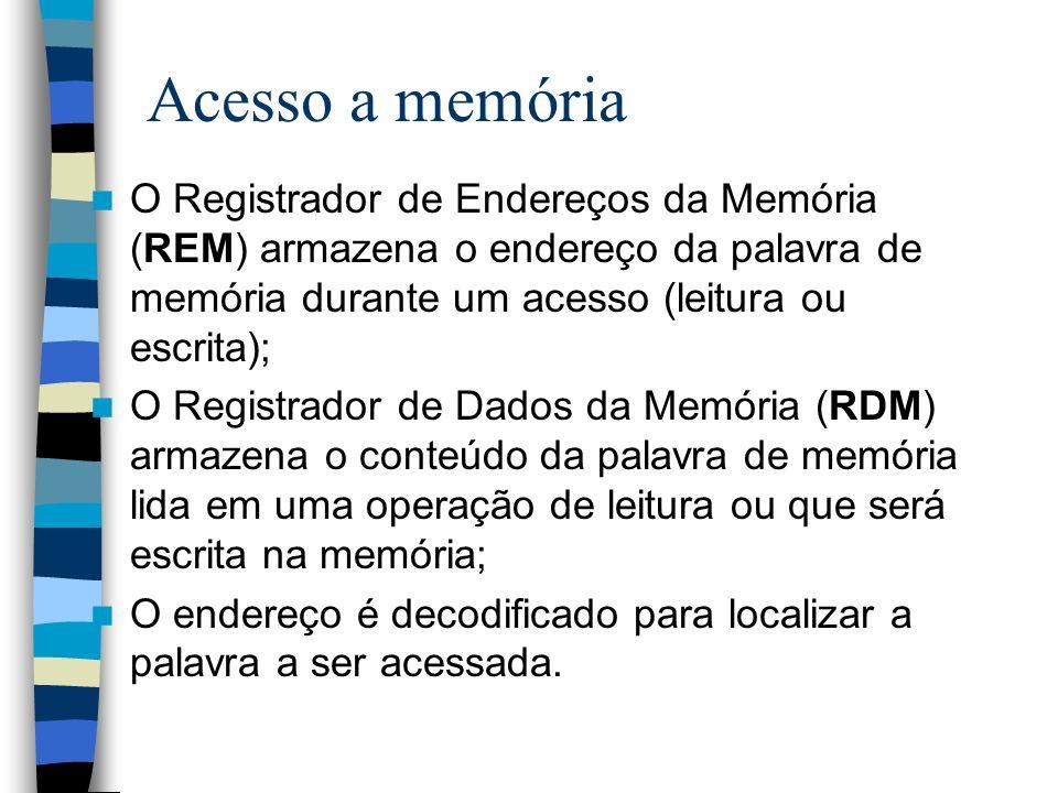 Acesso a memória O Registrador de Endereços da Memória (REM) armazena o endereço da palavra de memória durante um acesso (leitura ou escrita);