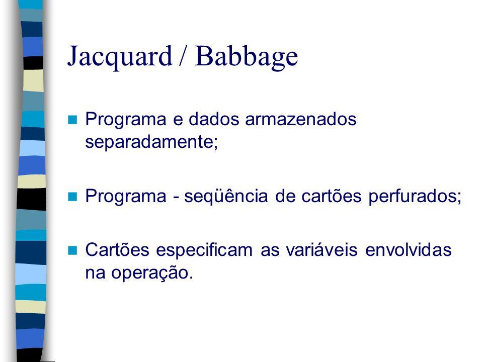 Jacquard / Babbage Programa e dados armazenados separadamente;