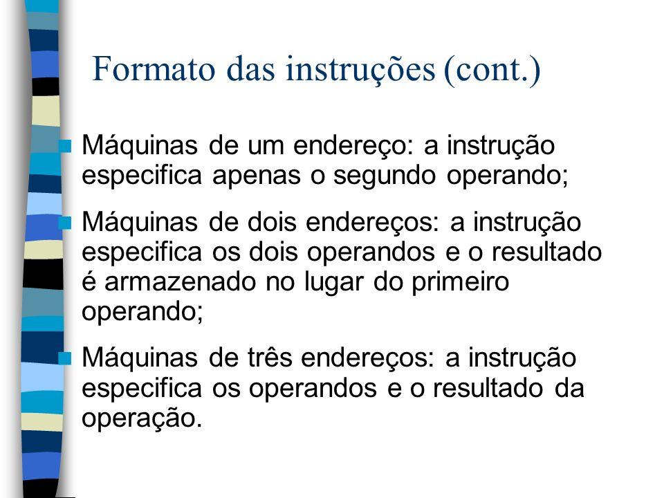 Formato das instruções (cont.)