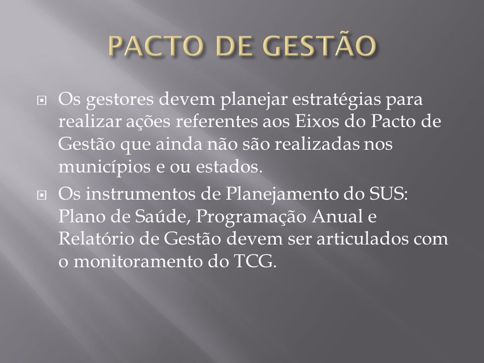 PACTO DE GESTÃO