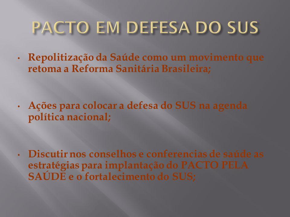 PACTO EM DEFESA DO SUS Repolitização da Saúde como um movimento que retoma a Reforma Sanitária Brasileira;