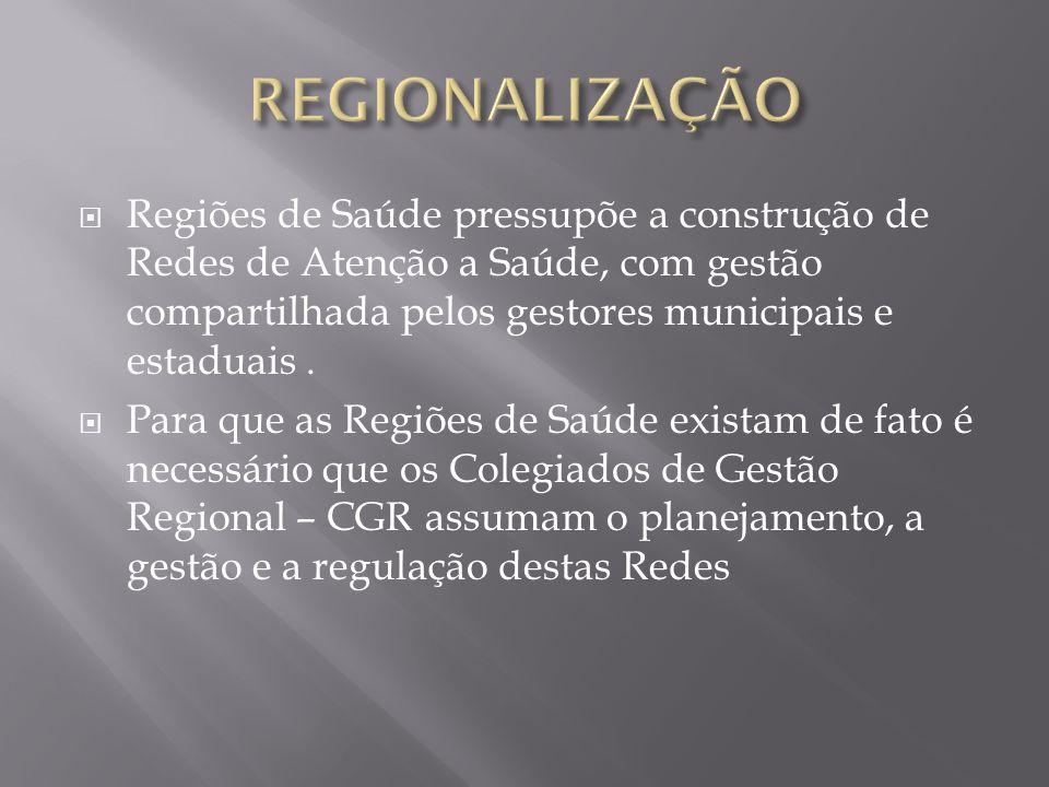 REGIONALIZAÇÃO Regiões de Saúde pressupõe a construção de Redes de Atenção a Saúde, com gestão compartilhada pelos gestores municipais e estaduais .