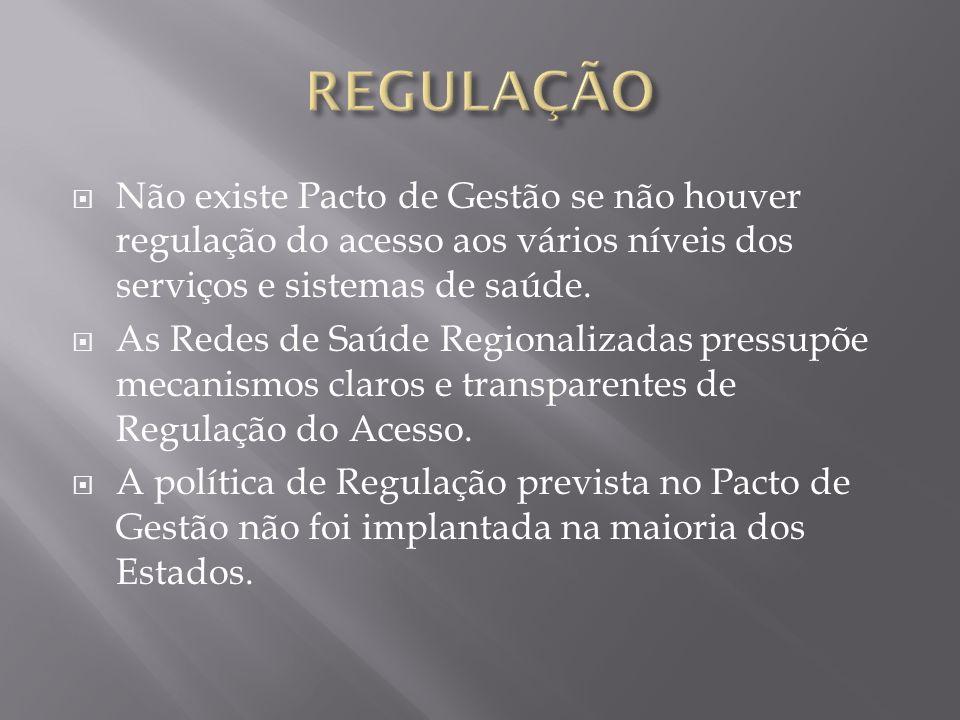 REGULAÇÃONão existe Pacto de Gestão se não houver regulação do acesso aos vários níveis dos serviços e sistemas de saúde.