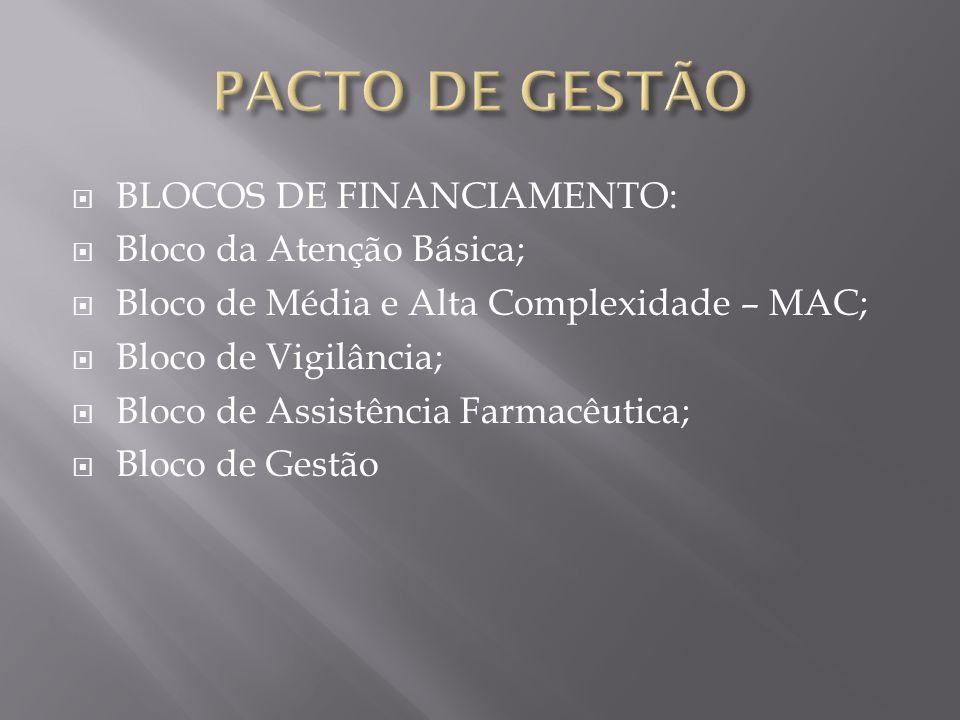 PACTO DE GESTÃO BLOCOS DE FINANCIAMENTO: Bloco da Atenção Básica;