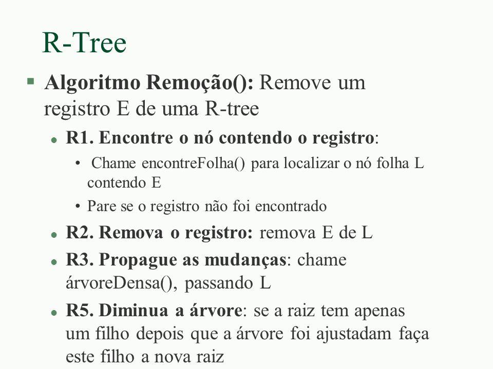 R-Tree Algoritmo Remoção(): Remove um registro E de uma R-tree