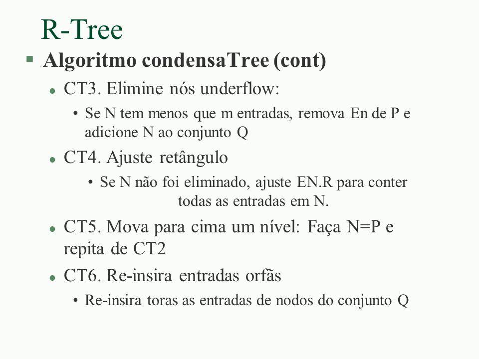 R-Tree Algoritmo condensaTree (cont) CT3. Elimine nós underflow: