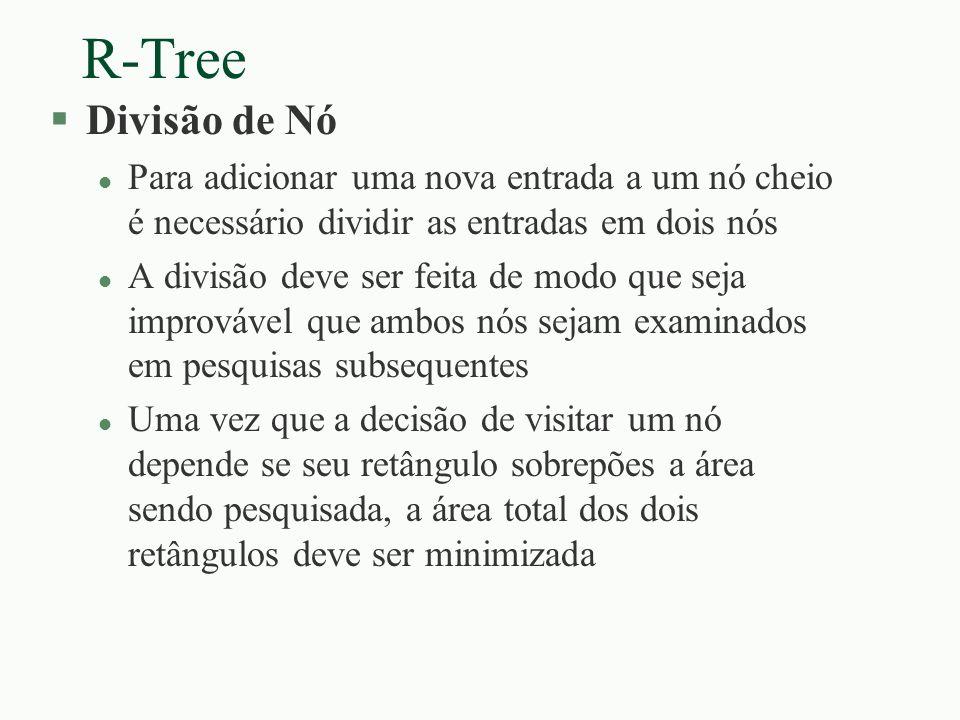 R-Tree Divisão de Nó. Para adicionar uma nova entrada a um nó cheio é necessário dividir as entradas em dois nós.