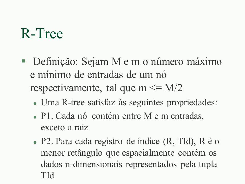 R-Tree Definição: Sejam M e m o número máximo e mínimo de entradas de um nó respectivamente, tal que m <= M/2.