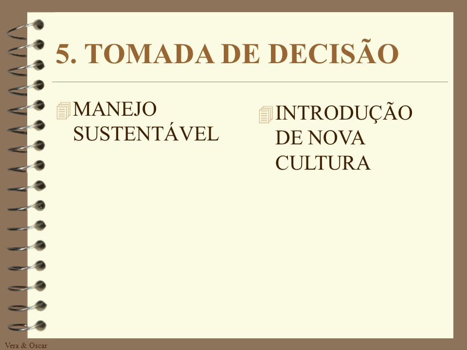 5. TOMADA DE DECISÃO MANEJO SUSTENTÁVEL INTRODUÇÃO DE NOVA CULTURA