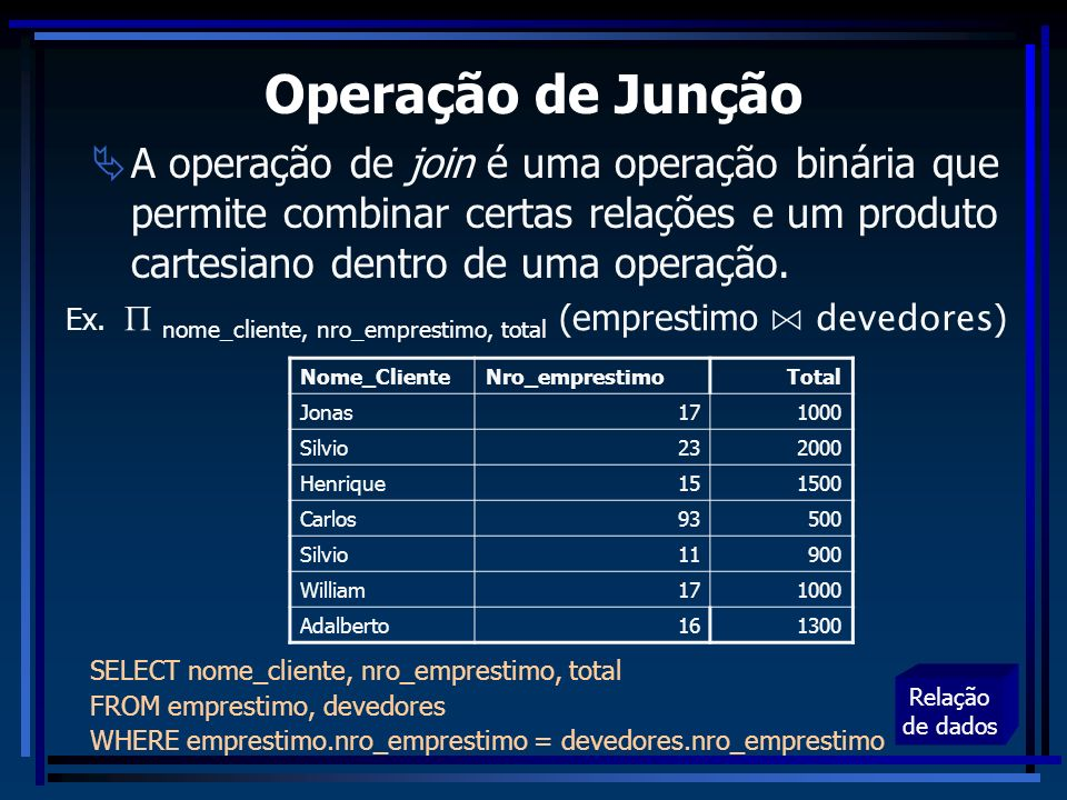 Operação de Junção A operação de join é uma operação binária que permite combinar certas relações e um produto cartesiano dentro de uma operação.
