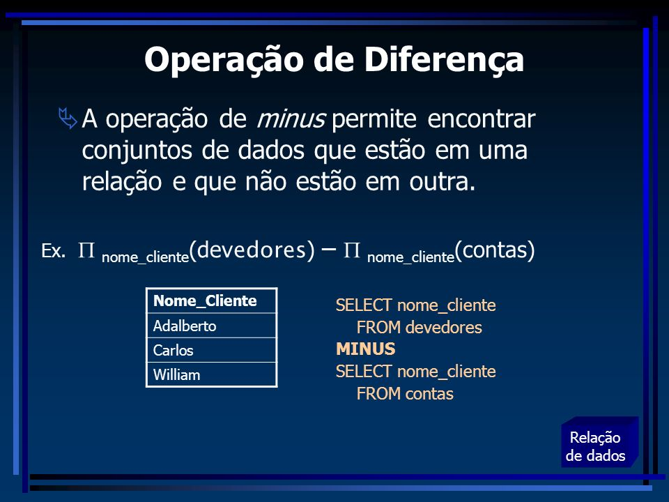 Operação de Diferença A operação de minus permite encontrar conjuntos de dados que estão em uma relação e que não estão em outra.