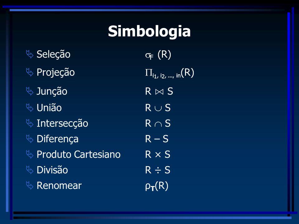 Simbologia Seleção F (R) Projeção i1, i2, ..., in(R) Junção R ⋈ S