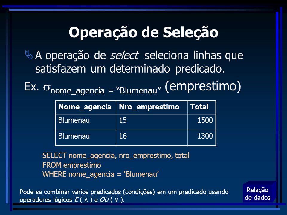 Operação de Seleção A operação de select seleciona linhas que satisfazem um determinado predicado.