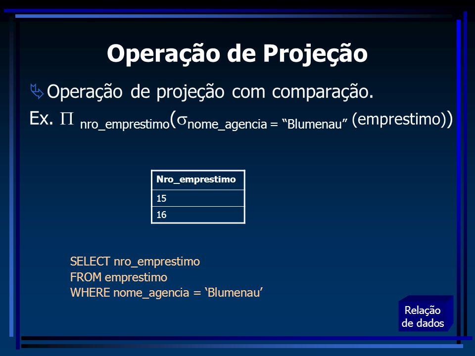 Operação de Projeção Operação de projeção com comparação.