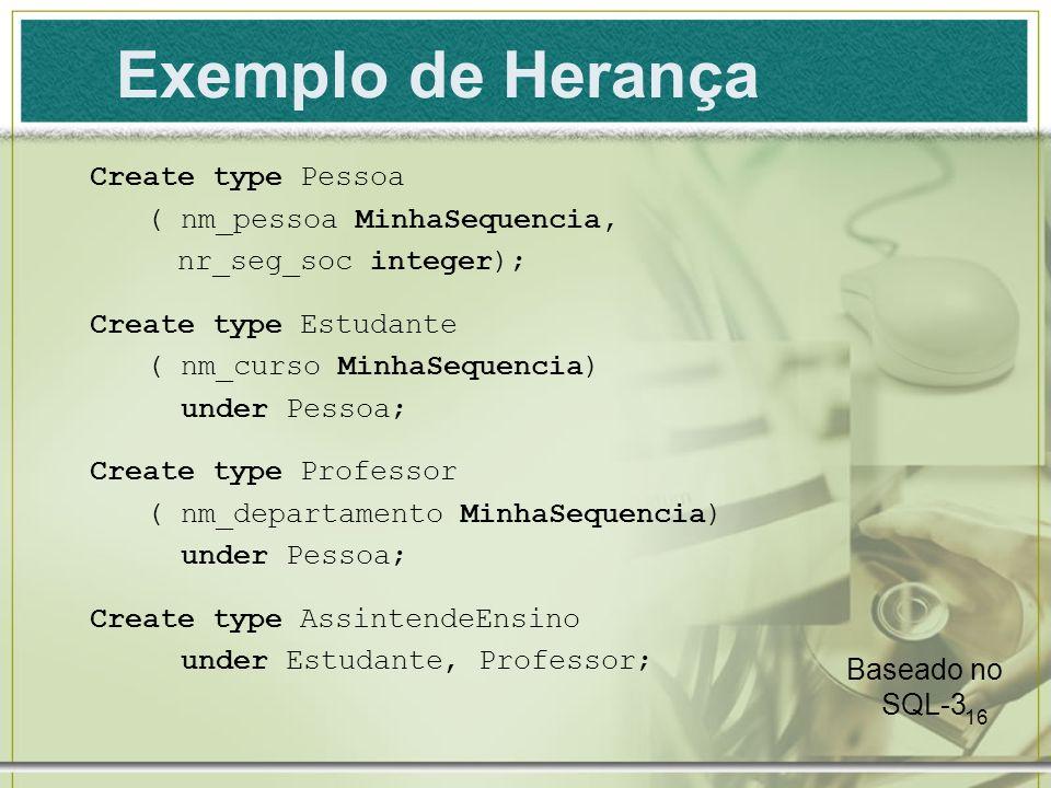 Exemplo de Herança Create type Pessoa ( nm_pessoa MinhaSequencia,
