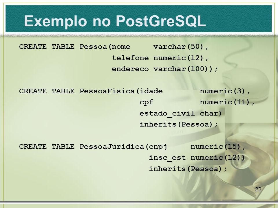 Exemplo no PostGreSQL CREATE TABLE Pessoa(nome varchar(50),