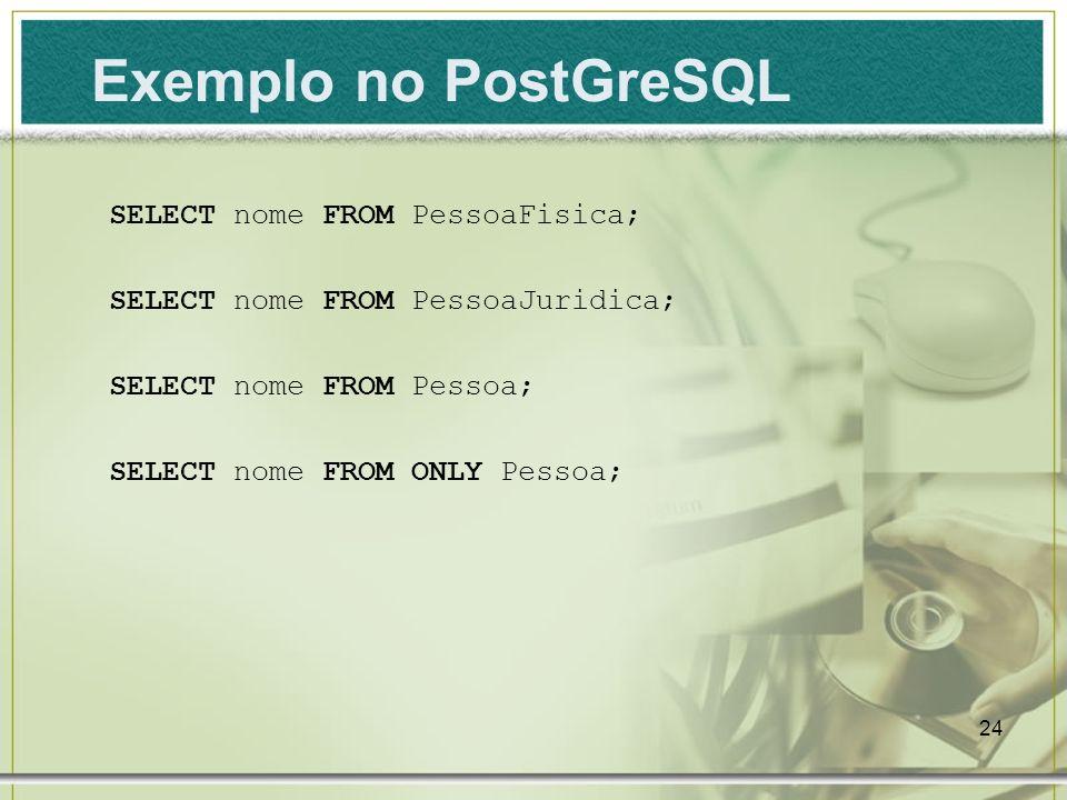 Exemplo no PostGreSQL SELECT nome FROM PessoaFisica;