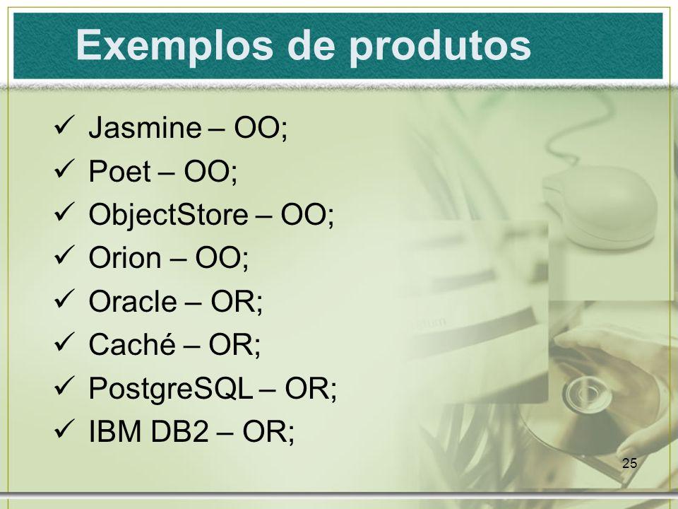Exemplos de produtos Jasmine – OO; Poet – OO; ObjectStore – OO;